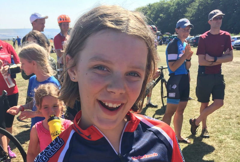 Zoe Parker, winner of the U12 Girls cyclocross at Scarborough